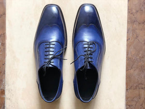 Handmade Men's Leather Blue Wing Tip Shoes - leathersguru