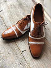Load image into Gallery viewer, Men's Leather White Brown Cap Toe Lace Up Shoes - leathersguru