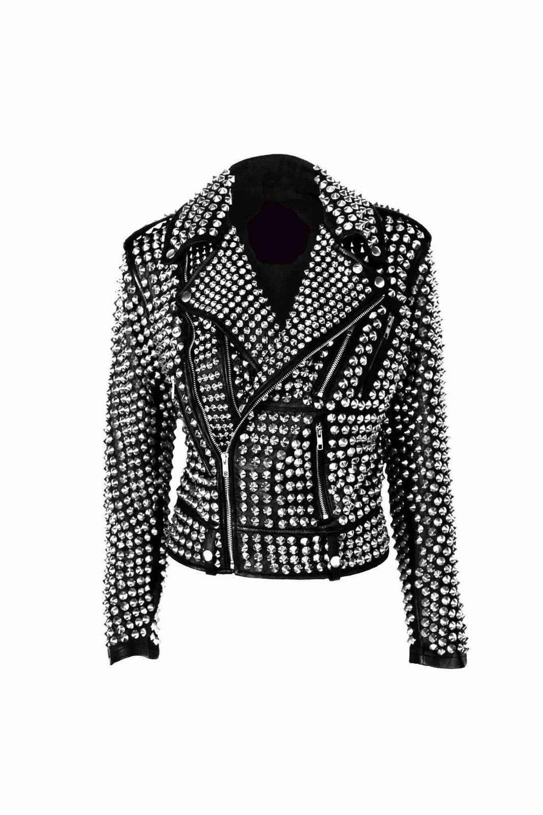 A.L.C Woman Full Silver Studded Punk Cowhide Leather Jacket - leathersguru