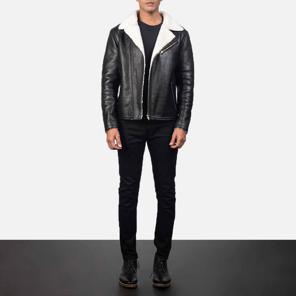 Alberto White Shearling Black Leather Jacket For Men's