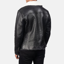 Load image into Gallery viewer, Alberto White Shearling Black Leather Jacket For Men's