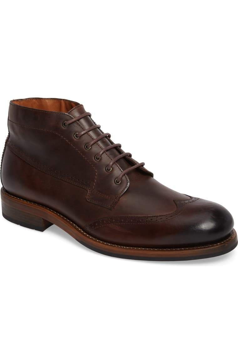 Bespoke Dark Brown Chukka Leather Wing Tip Lace Up Boots - leathersguru