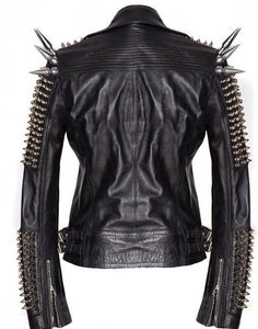 Black Women Genuine Classical Punk Style Leather Jacket Large Spike Silver Studs