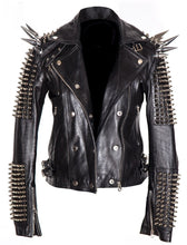 Load image into Gallery viewer, Black Women Genuine Classical Punk Style Leather Jacket Large Spike Silver Studs