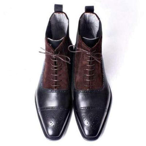 Handmade Brown Cap Toe Brogue Lace Up Leather Suede Boot - leathersguru