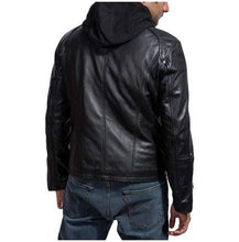 Load image into Gallery viewer, Mansions Damien Collier Black Leather, Men Hooded Leather Jacket - leathersguru