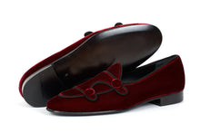 Load image into Gallery viewer, Burgundy Belgian Loafer Velvet Double Monk Style Men's Party Shoes - leathersguru