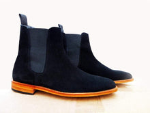 Load image into Gallery viewer, Handmade Men's Ankle High Suede Navy Blue Chelsea Boot - leathersguru