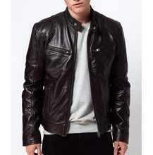 Load image into Gallery viewer, Bespoke Collection Soft Lambskin Leather Biker Black Jacket - leathersguru