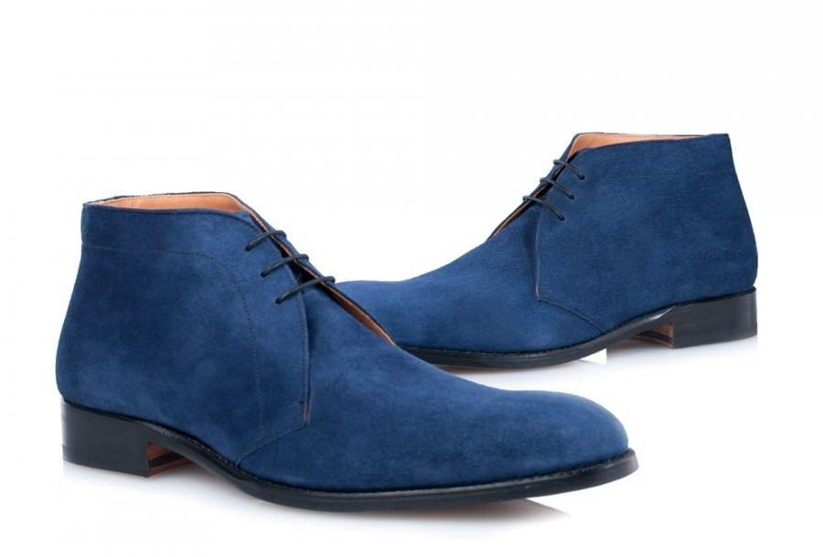 Handmade Men's Ankle High Blue Suede Chukka Lace Up Boot - leathersguru