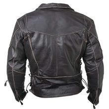 Load image into Gallery viewer, Men's Vintage Distressed Terminator Brando Biker Cowhide Leather Black Jacket - leathersguru