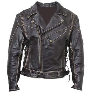 Men's Vintage Distressed Terminator Brando Biker Cowhide Leather Black Jacket - leathersguru