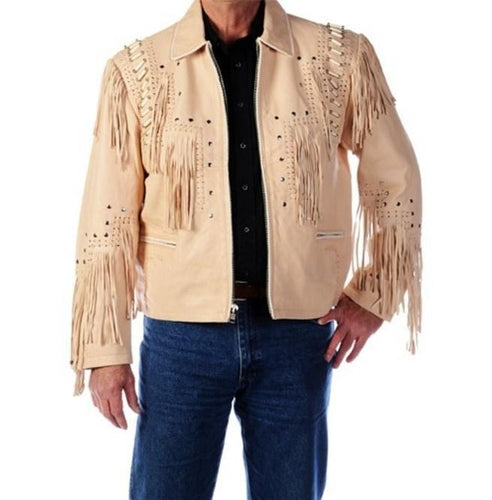 Western Men 1980' Cowboy Cream Color Fringe Jacket - leathersguru