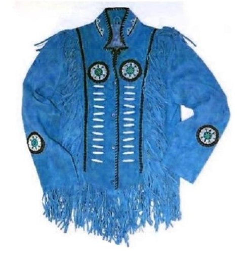 Western Suede Jacket, Men's Wear Fringes Beads Blue Color Jacket - leathersguru