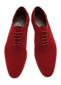 Handmade Men's Suede Red Derby Lace Up Shoes - leathersguru
