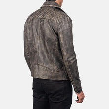Load image into Gallery viewer, Danny Quilted Brown Leather Biker Jacket