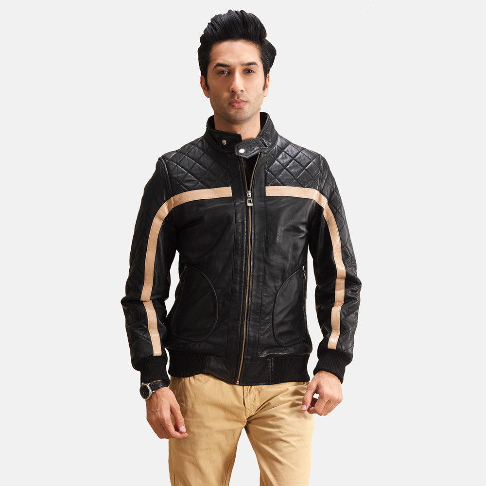 Danson Black Leather Bomber Jacket