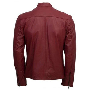 Designer Men Maroon Belted Fashion Leather Jacket Men Military Style Jacket - leathersguru
