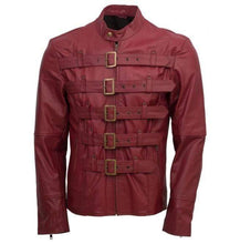 Load image into Gallery viewer, Designer Men Maroon Belted Fashion Leather Jacket Men Military Style Jacket - leathersguru