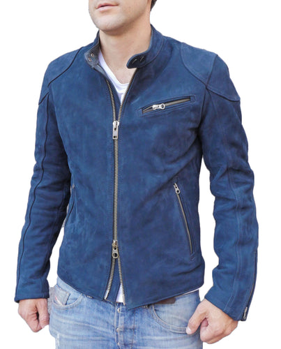 Designer Motorcycle Blue Fashion Suede Leather Jacket For Stylish Looking Men's