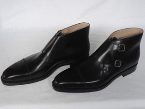 Handmade Black Leather Cap Toe Monk Boot - leathersguru