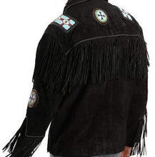 Load image into Gallery viewer, Handmade Eagle Beads Western Cowboy Black Color Suede Leather Jacket - leathersguru