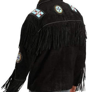 Handmade Eagle Beads Western Cowboy Black Color Suede Leather Jacket - leathersguru