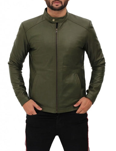 Fano Mens Olive Green Leather Biker Jacket