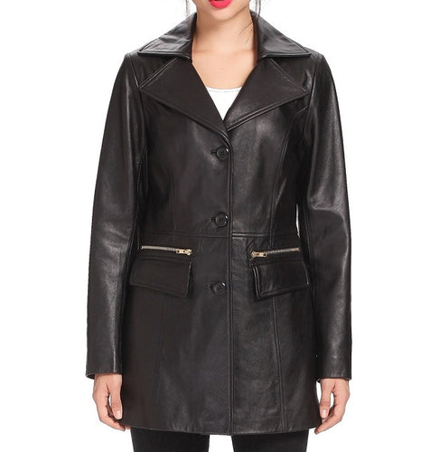Fully Handmade Products Prepared From Genuine Leather Black Color Coat, Women Black Long Coat Style - leathersguru