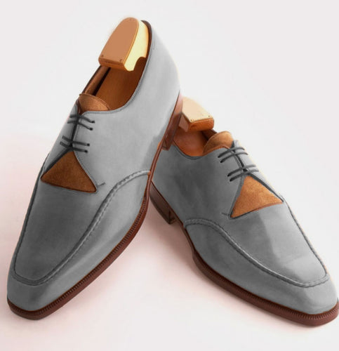 Gray Leather New Edition Split Design Handmade Lace Up Shoes - leathersguru