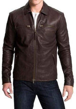 Load image into Gallery viewer, Men's Biker Leather Jacket, Men's Chocolate Brown Color Fashion Leather Jacket - leathersguru
