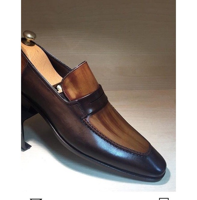 Hand Panted Brown Shoes, Men's Slip On Leather Shoes