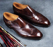 Load image into Gallery viewer, Handmade Burgundy Leather Monk Strap Shoe - leathersguru