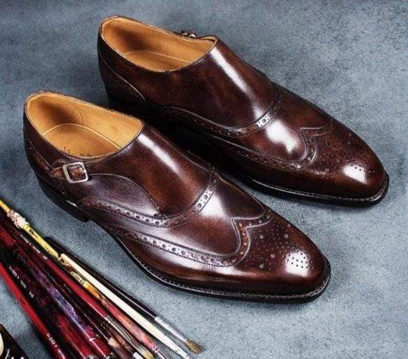 Handmade Burgundy Leather Monk Strap Shoe - leathersguru
