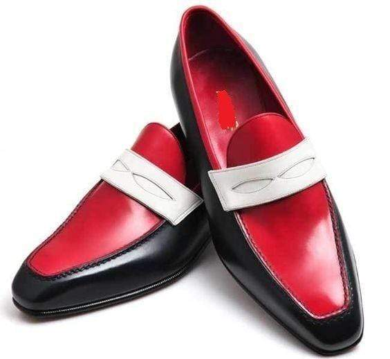 Men's Leather Red Black Slip On Moccasin Penny Loafers - leathersguru