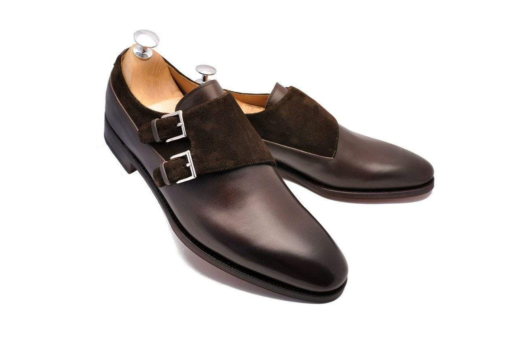 Handmade Brown Leather Suede Monk Shoe - leathersguru