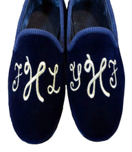 Load image into Gallery viewer, Handmade Embroidery Blue Slip On Velvet Shoe - leathersguru