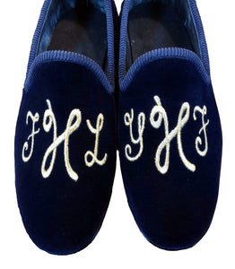 Handmade Embroidery Blue Slip On Velvet Shoe - leathersguru