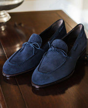 Load image into Gallery viewer, Handmade Navy Blue Loafers Suede Shoes - leathersguru