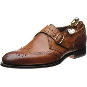 Handmade Brown Leather Brogue Monk Shoe - leathersguru