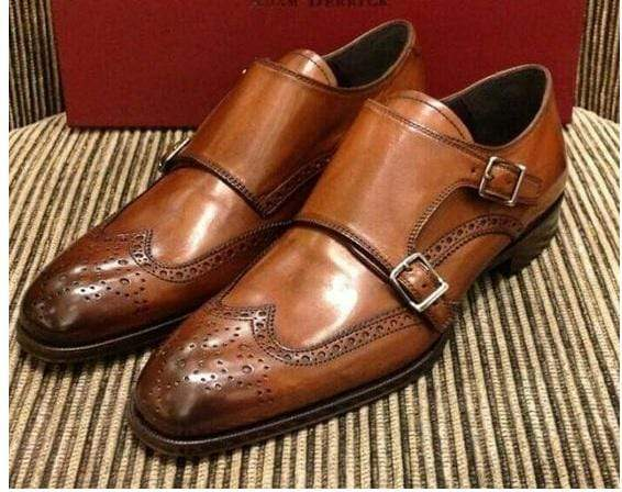 Handmade Men's Brown Leather Monk Strap Wing Tip Brogue Shoe - leathersguru