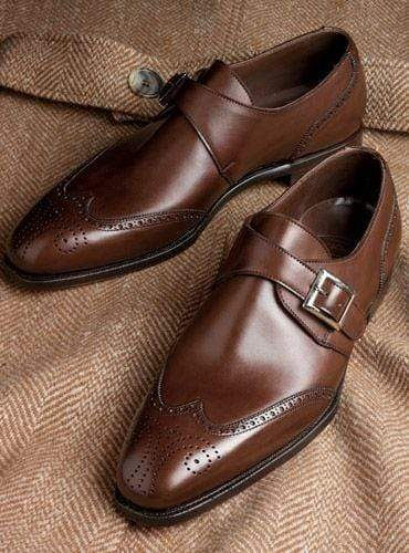 Men's Brown Leather Monk Strap Derby Shoe - leathersguru