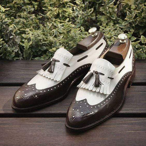 Handmade White Brown Fringe Tussles Loafers Shoes - leathersguru