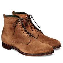 Load image into Gallery viewer, Handmade Men's Ankle High Suede Brown Lace Up Boot - leathersguru