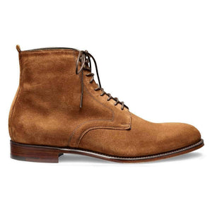 Handmade Men's Ankle High Suede Brown Lace Up Boot - leathersguru