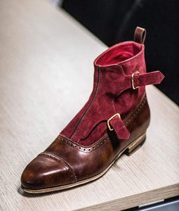 Handmade Brown Burgundy Monk Strap Cap Toe Boot - leathersguru