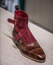 Load image into Gallery viewer, Handmade Brown Burgundy Monk Strap Cap Toe Boot - leathersguru