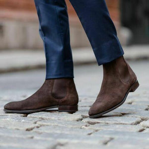Men's Chocolate Brown Chelsea Suede Boots - leathersguru