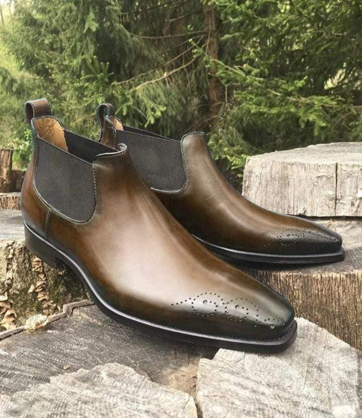 Handmade Half Ankle Dark Brown Chelsea Boot - leathersguru
