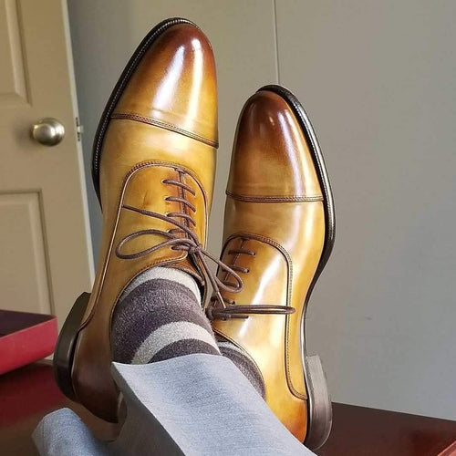 Handmade Two Tone Tan Leather Cap Toe Lace Up Shoe - leathersguru